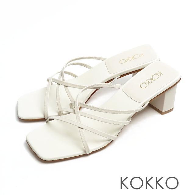 【KOKKO 集團】時髦方頭珍珠光細帶小牛皮粗跟涼拖鞋(米色)