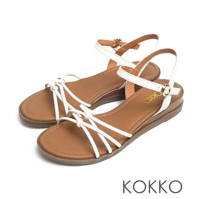 【KOKKO 集團】立體扭轉細帶小牛皮舒壓彈力楔型涼鞋(白色)