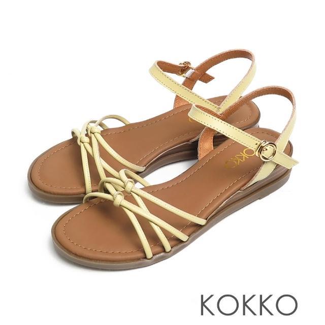 【KOKKO 集團】立體扭轉細帶小牛皮舒壓彈力楔型涼鞋(黃色)