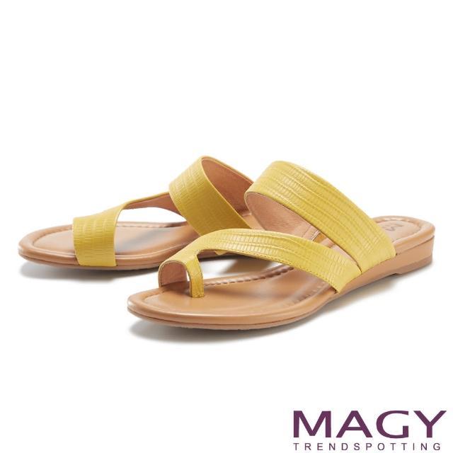【MAGY】斜邊龍骨紋牛皮套指 女 拖鞋(黃色)