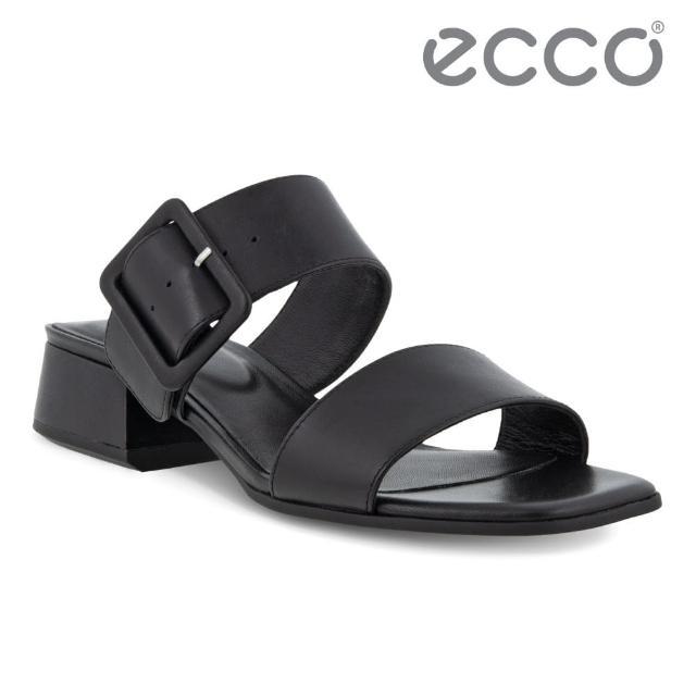 【ecco】ELEVATE SQUARED SANDAL 塑雅方頭摩登粗跟涼鞋 女鞋(黑色 29131301001)