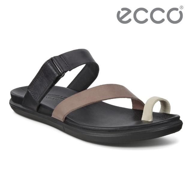 【ecco】SIMPIL SANDAL 簡約皮革平底涼鞋 女鞋(黑色/石灰色/木粉色 20920351394)