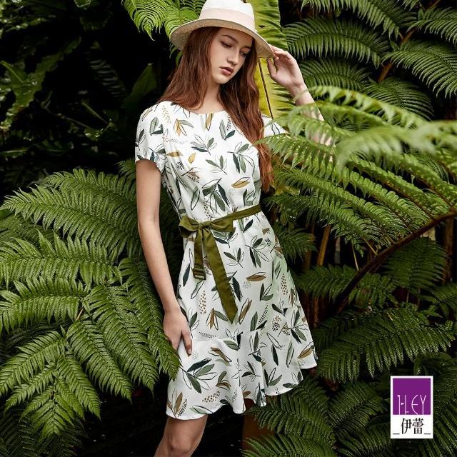 【ILEY 伊蕾】森林系修身收腰A字波浪洋裝1212027429(白)