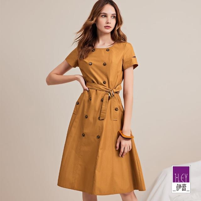 【ILEY 伊蕾】英倫感高含棉雙排釦洋裝1212027081(卡其)