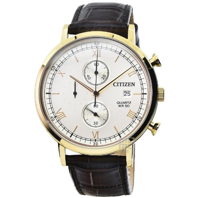 【CITIZEN 星辰】星辰超霸三眼計時皮帶錶-白面金框(AN3612-09P)