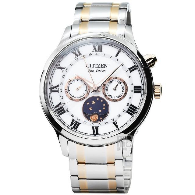 【CITIZEN 星辰】星辰ECO-DRIVE日月星相光動能鋼帶錶-中金(AP1054-80A)