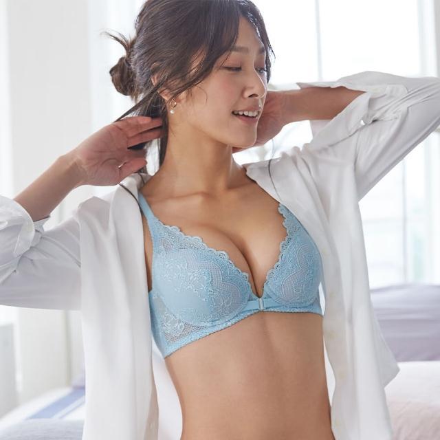 【Ladies 蕾黛絲】舒感修容前扣靠過來 D罩杯內衣(清爽水藍)