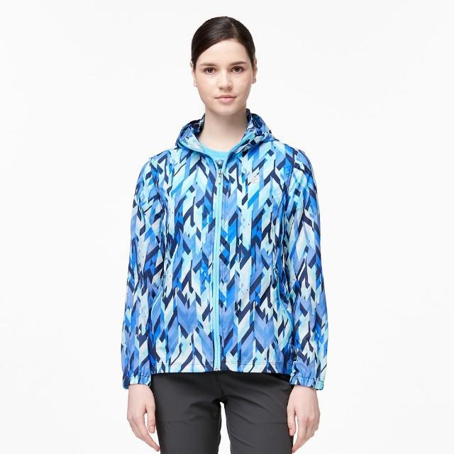 【Wildland 荒野】女N66透氣抗UV印花輕薄外套(丁寧藍色)