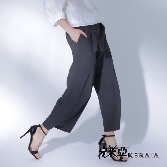 【KERAIA 克萊亞】盛夏涼爽寬褲附本布帶