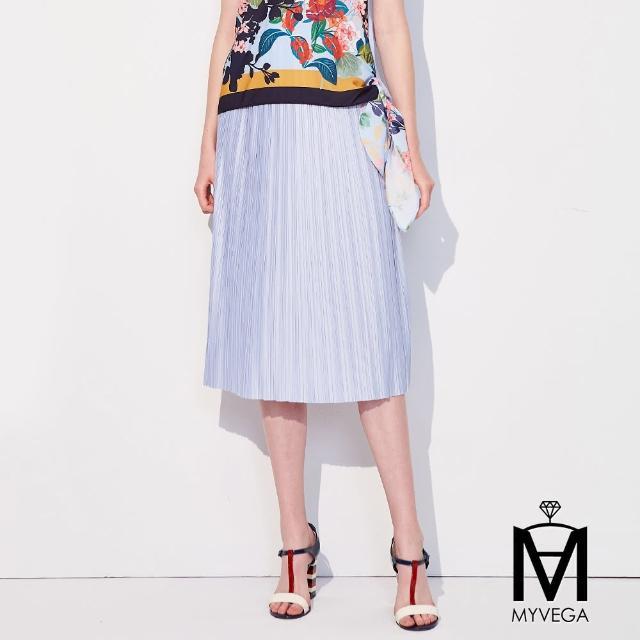 【MYVEGA 麥雪爾】MA純色光澤壓摺設計中長裙-水藍