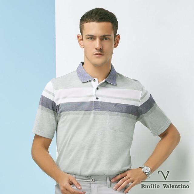 【Emilio Valentino 范倫鐵諾】商務休閒 男裝 經典百搭橫紋POLO衫_灰/藍/白(21-1V5811)