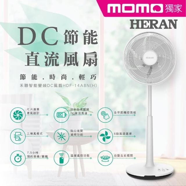 【HERAN 禾聯】momo獨家★質感新設計-日本品牌馬達 14吋智慧觸控變頻7葉片DC扇(HDF-14A8NH)