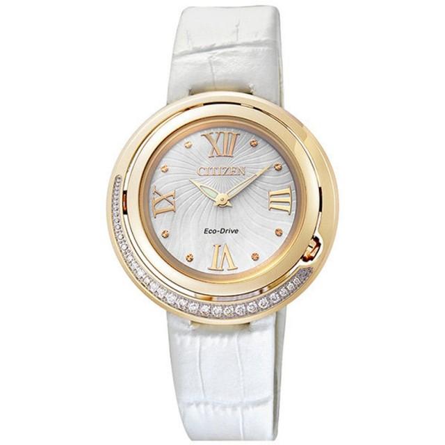 【CITIZEN 星辰】L系列 弦月精靈光動能時真鑽腕錶-金框x白皮帶(EX1122-07A)