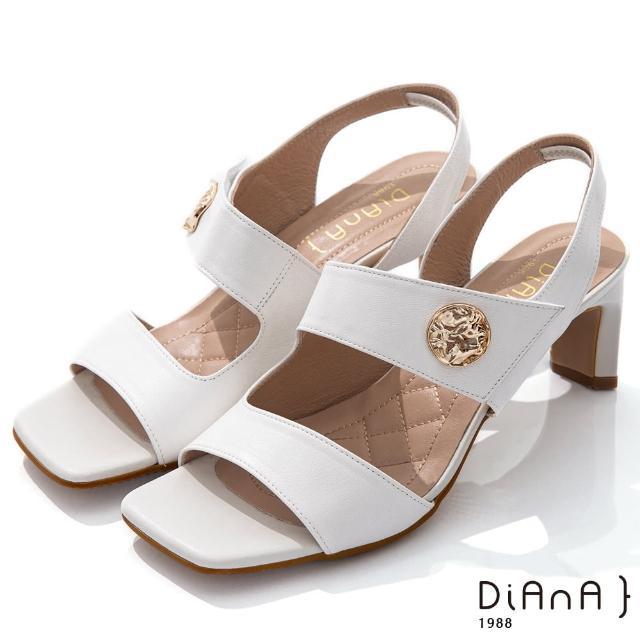 【DIANA】6.7cm質感牛皮方頭寬板金屬釦魔鬼氈露趾高跟涼鞋(白)