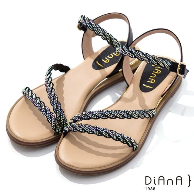 【DIANA】2.2cm 閃耀葛莉特X牛皮拼接環繞羅馬低跟涼鞋(黑)