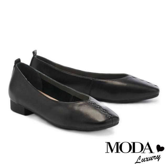 【MODA Luxury】舒適優雅全真皮獨特編織造型方頭低跟鞋(黑)