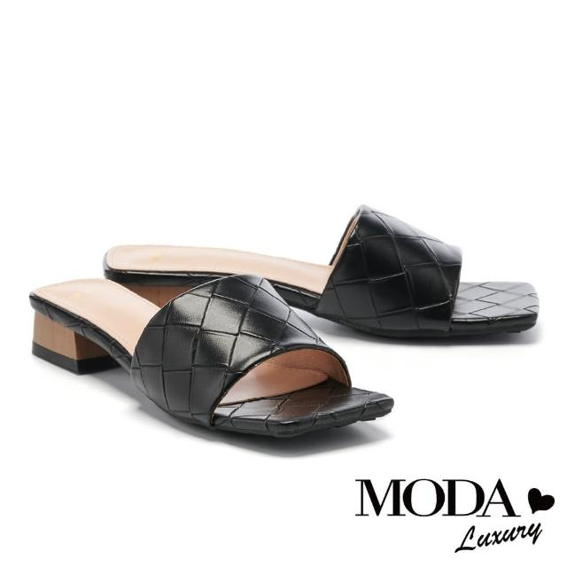 【MODA Luxury】氣質風尚編織質感一字方頭低跟拖鞋(黑)