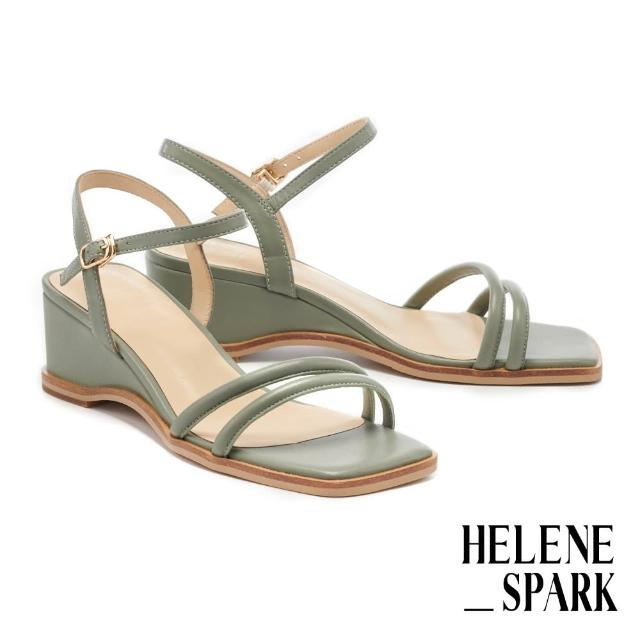 【HELENE SPARK】簡約時尚純色圓滾繫帶方頭楔型高跟涼鞋(綠)