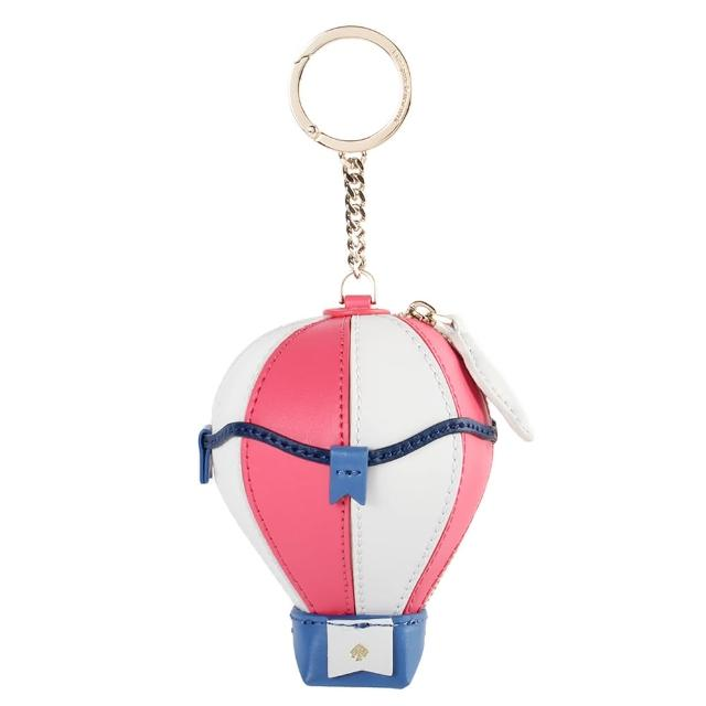 【KATE SPADE】立體熱氣球造型零錢包鑰匙圈吊飾(粉色/白色)