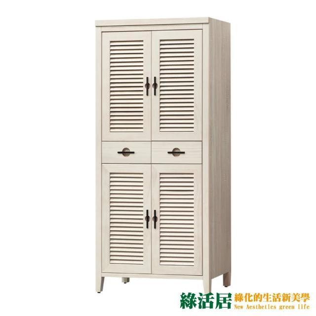 【綠活居】馬爾 時尚2.8尺四門二抽高鞋櫃/收納櫃