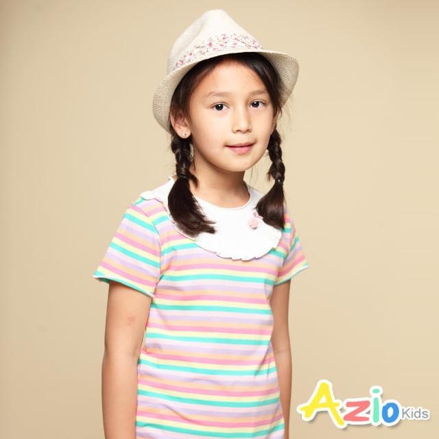 【Azio Kids 美國派】女童 上衣 領口白色荷葉造型彩色橫條紋短袖上衣(彩條)