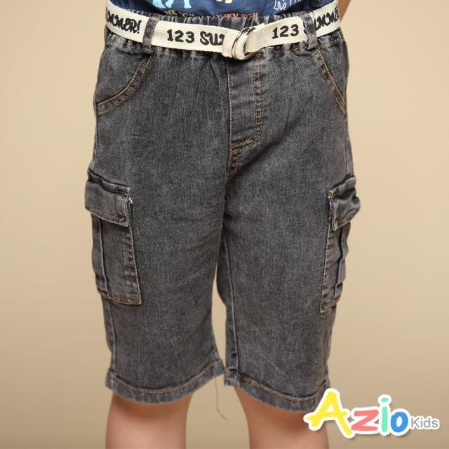 【Azio Kids 美國派】男童 短褲 側雙口袋牛仔短褲附編織皮帶(黑)
