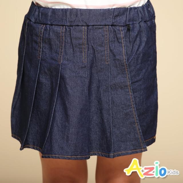【Azio Kids 美國派】女童 褲裙 前百褶造型純色牛仔褲裙(藍)