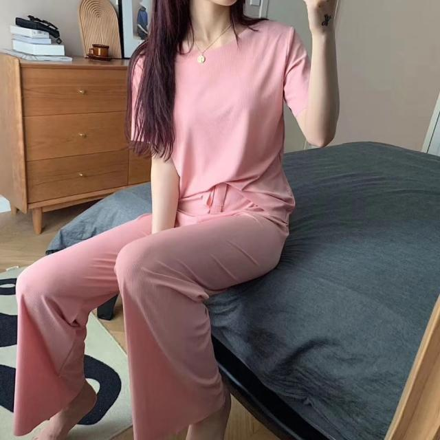 【CS22】夏季休閒冰絲純色寬長褲套裝(短袖+長褲 3色)