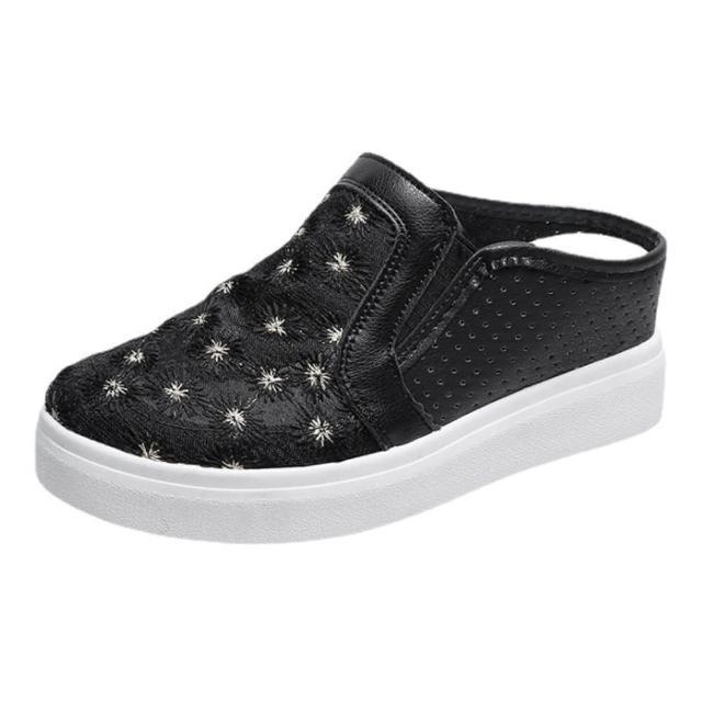 【Taroko】酷帥出街網紗花朵鏤空厚底休閒鞋(2色可選)
