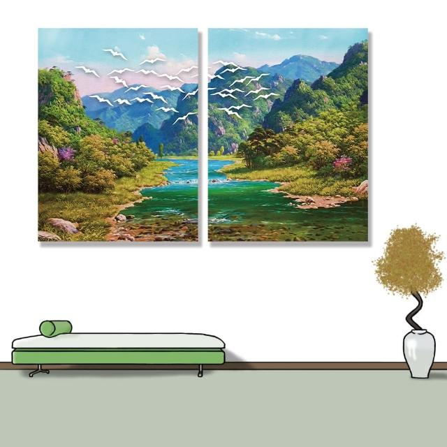 【24mama 掛畫】二聯式 油畫布 景觀 河流 動物 夏天 自然 樹 無框畫-30x40cm(山脈森林)
