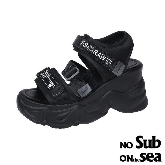 【NO SUB】厚底涼鞋 露趾涼鞋/百搭英文印字織帶運動風鬆糕厚底涼鞋(黑)