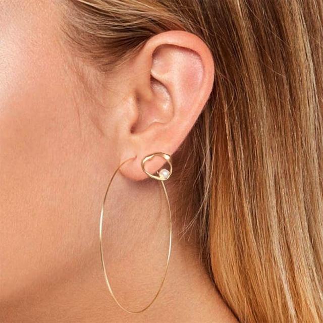 【CReAM】Doris 朵莉絲S925純銀珍珠霧金耳環(金色)