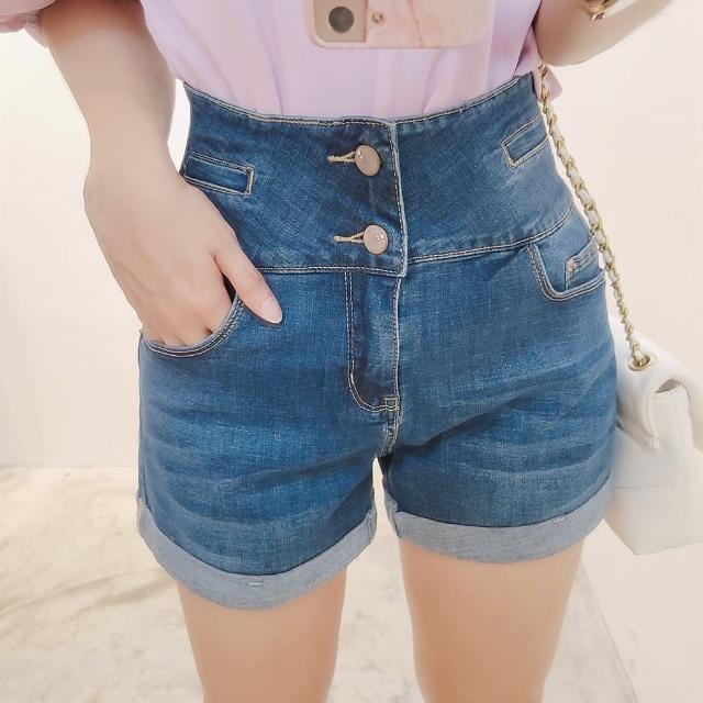 【BBHONEY】韓版顯瘦百搭寬鬆闊腿高腰牛仔短褲(網美熱搜款)