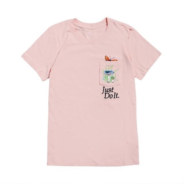 【NIKE 耐吉】T恤 NSW T-Shirts 運動休閒 女款 圓領 口袋 蝴蝶 JDI 棉質 穿搭推薦 粉 彩(DD1463-805)
