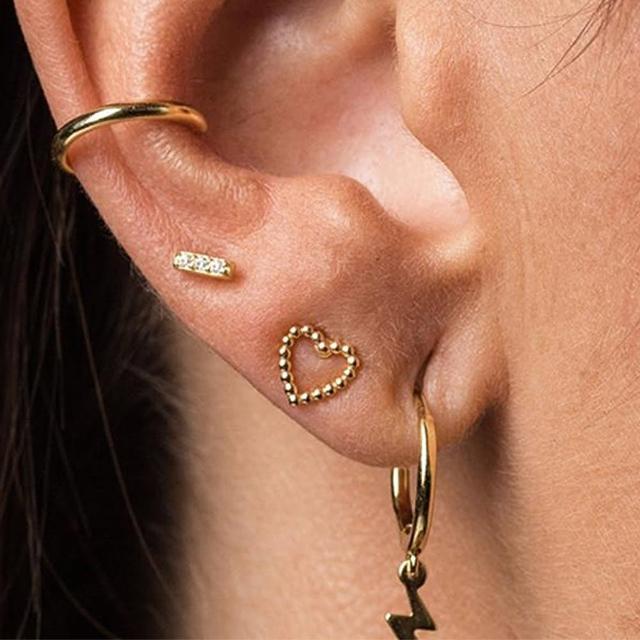 【CReAM】Heart 西班牙純銀鍍18K金細緻金色心型耳針耳環(金色)
