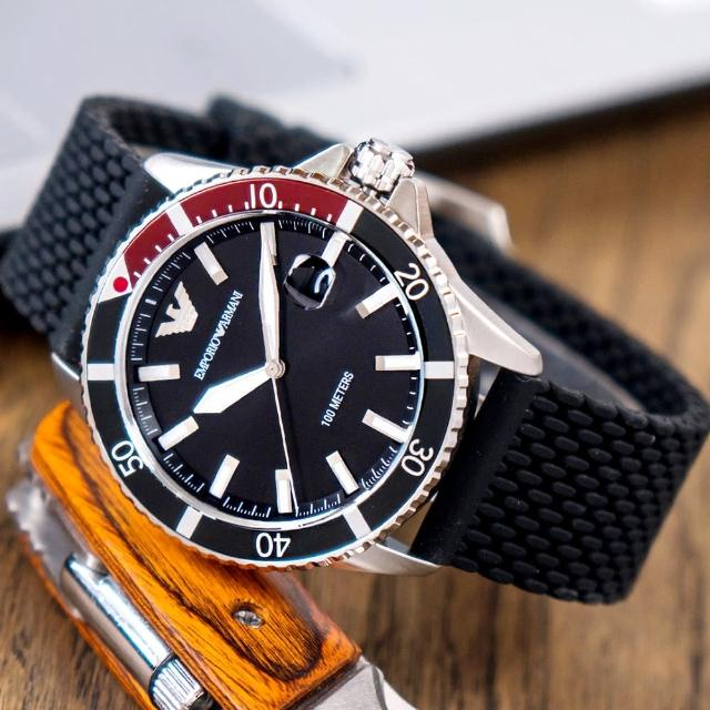 【EMPORIO ARMANI】亞曼尼 公司貨 Diver 經典百搭運動矽膠潛水腕錶/黑x銀針(AR11341)