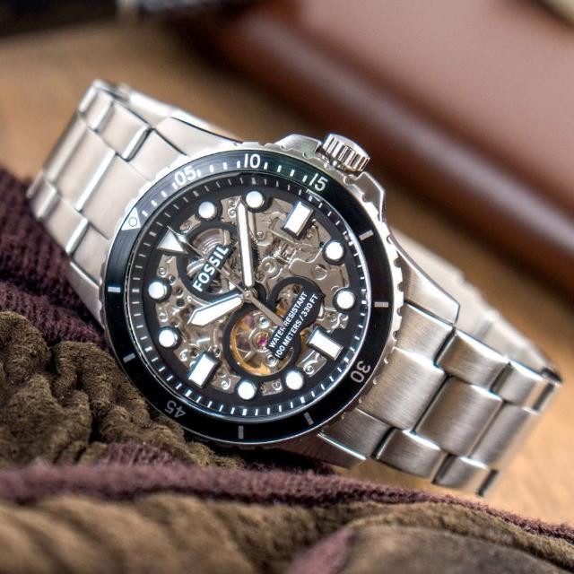 【FOSSIL】公司貨 FB-01 金屬質感鏤空機械不鏽鋼腕錶/銀x黑框 男錶(ME3190)