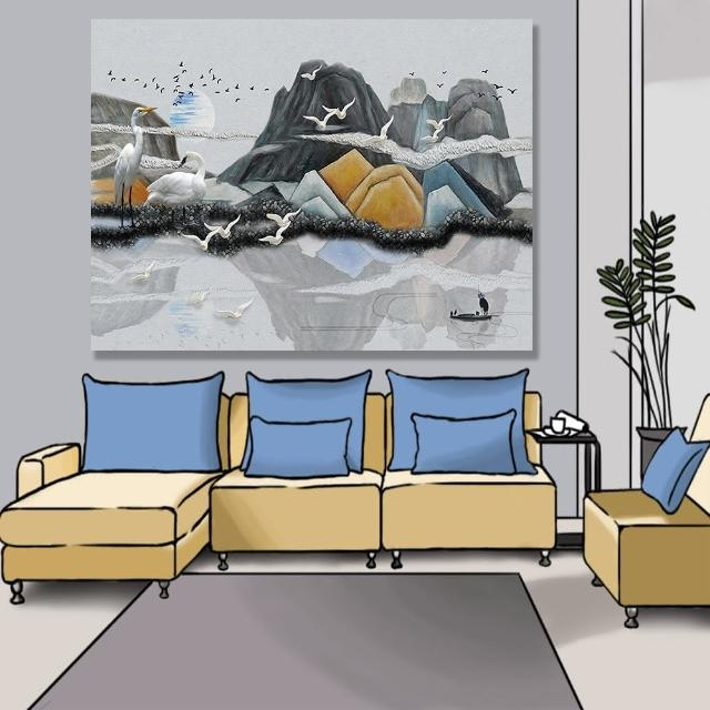 【24mama 掛畫】單聯式 油畫布 景觀 抽象 插圖 滿月 雲 動物 船 倒影 湖 無框畫-80x60cm(抽象丘陵)