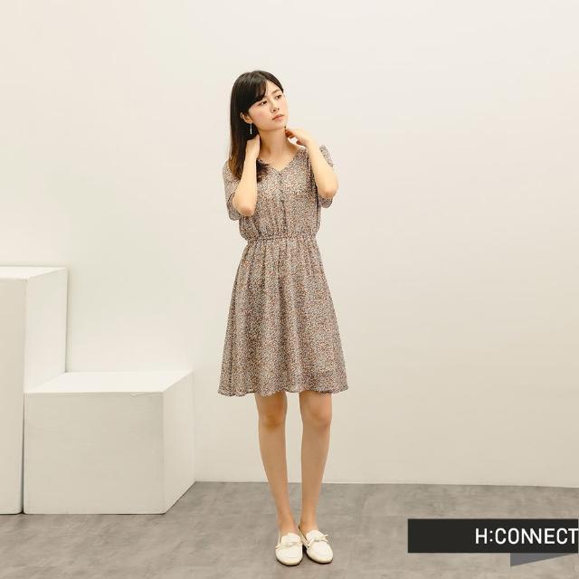 【H:CONNECT】韓國品牌 女裝 -滿版碎花排扣短洋裝(藍色)