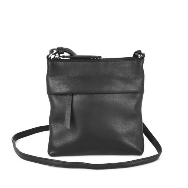 【MARKBERG】Vanilla 丹麥手工牛皮率性輕便小斜背包 肩揹包(簡約黑)
