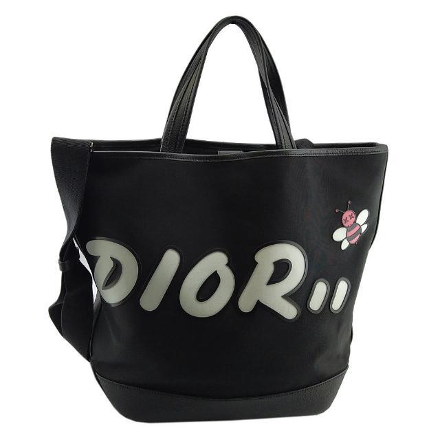 【Dior 迪奧】DIOR KAWS 限量聯名款-黑色帆布蜜蜂圖騰手提斜背兩用包(展示品)