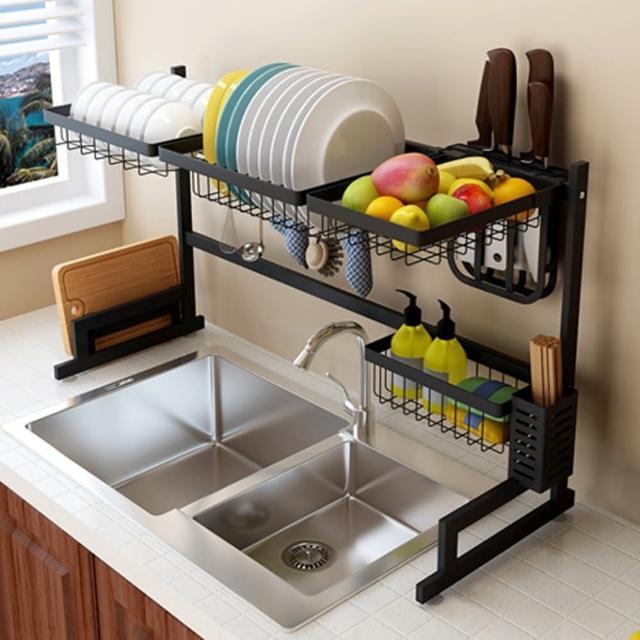 【居家生活Easy Buy】無印風 201不銹鋼碗盤瀝水收納置物架-79CM(碗盤收納架 水槽瀝水架)