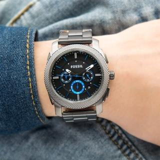 【FOSSIL】公司貨 Machine 鋼鐵質感時尚三眼計時不鏽鋼腕錶/灰x黑面 男錶(FS4931)