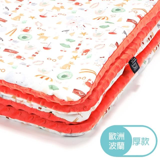 【La Millou】暖膚豆豆毯-標準款(海灘小象-紅-粉橘小太陽)
