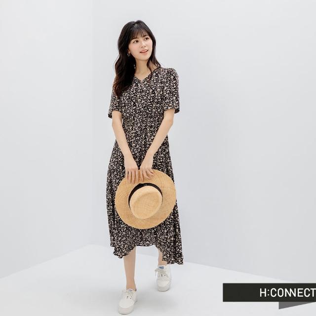 【H:CONNECT】韓國品牌 女裝 - 小V領縮腰後綁帶短袖雪紡洋裝(黑色)