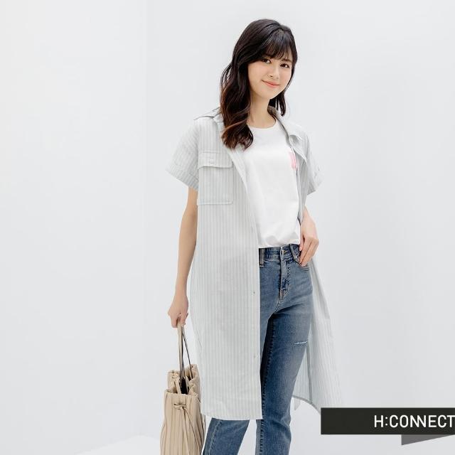 【H:CONNECT】韓國品牌 女裝 - 雙口袋棉麻長版襯衫洋裝(灰色)