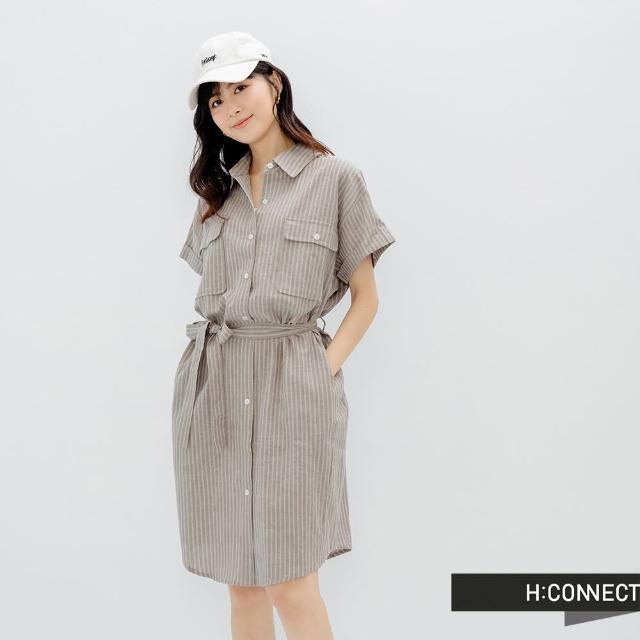 【H:CONNECT】韓國品牌 女裝 - 雙口袋棉麻長版襯衫洋裝(咖啡色)