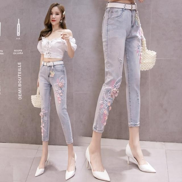 【WHATDAY】優雅時尚立體繡花釘珠牛仔小腳褲S-2XL
