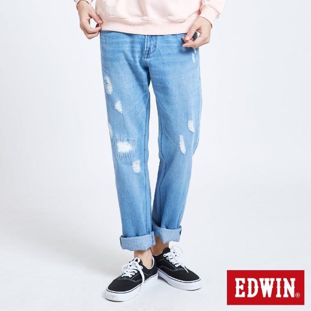 【EDWIN】503補釘加工直筒牛仔褲-男款(漂淺藍)