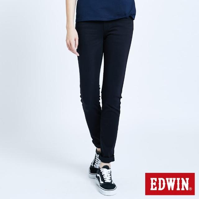 【EDWIN】JERSEYS 迦績EJ2棉感小直筒長褲-女款(黑色)